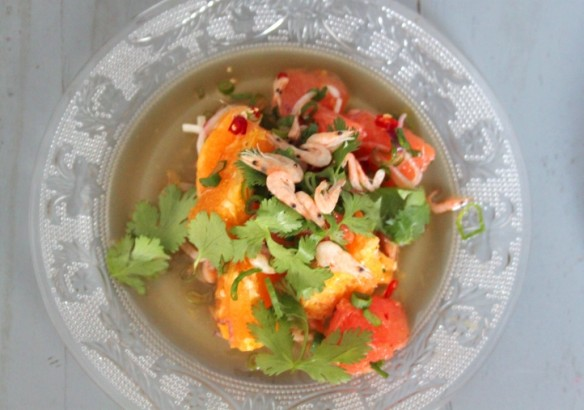 Ensalada naranja camarón superior