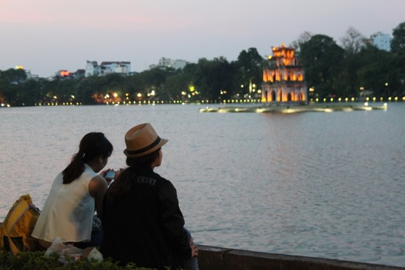 hanoi dusk lake temple