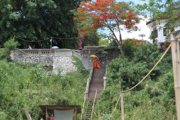 luang pravang stairs monk